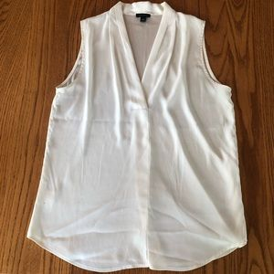 Ann Taylor White Sleeveless Blouse